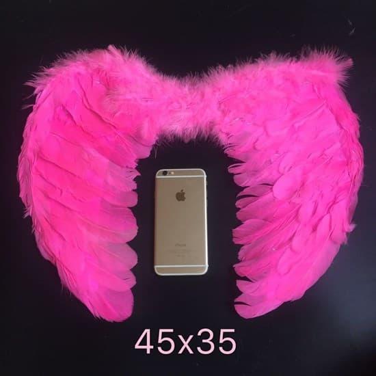 Крылья детские из перьев 45*35. Ярко-розовые - фото 18749