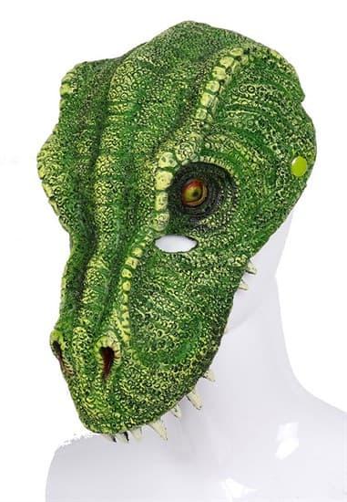 Мягкая полумаска зеленого динозавра 3D - фото 19177