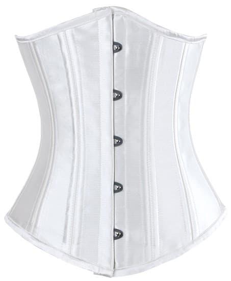 Белый атласный утягивающий корсет под грудь - фото 19378