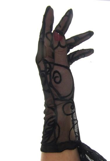 Короткие перчатки сетка с бархатным рисунком. Черные