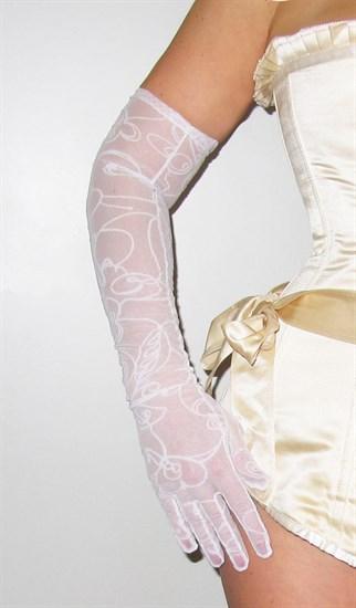 Длинные перчатки сетка с бархатным рисунком. Белые - фото 19424