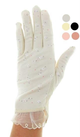 4089. Летние перчатки в цветочек из хлопка