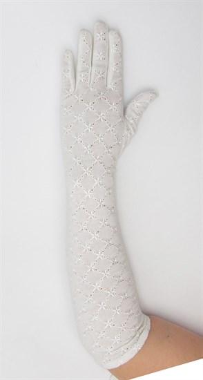 Длинные белые перчатки из хлопка с вышивкой - фото 21673