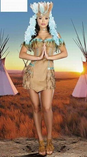 Бежевое мягкое платье индейской девушки - фото 4828