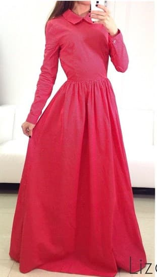 Платье в пол из красного хлопка в белый горошек - фото 5508