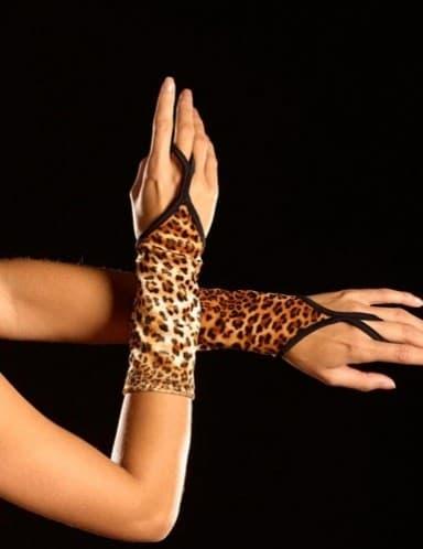 Леопардовые перчатки на один пальчик - фото 5986