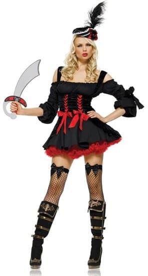 Карнавальный костюм пиратки из плюша и хлопка черного цвета - фото 6139
