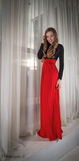 Красное платье в пол с черным бархатным верхом - фото 6444
