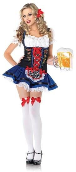 Маскарадный костюм баварской девушки, декорирован цветочками и алой лентой - фото 6936