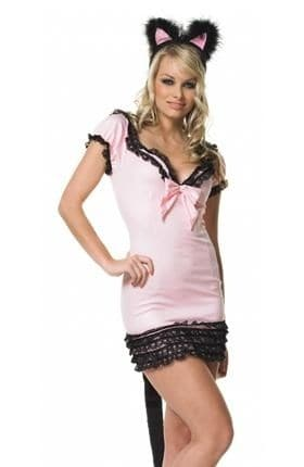 Маскарадный костюм розовой кошечки с длинным хвостом - фото 7242