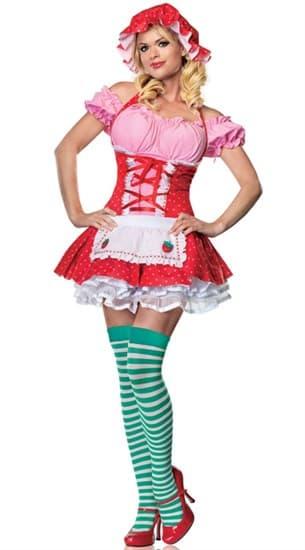 Маскарадный костюм девушки-клубнички красно-розовый - фото 7353