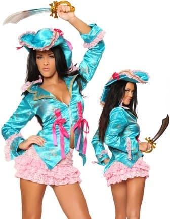 Маскарадный костюм пиратки голубой камзол и розовая юбка - фото 7780