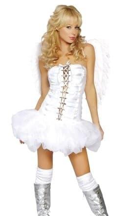 Маскарадный костюм белого ангела с пышной юбкой - фото 7787