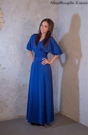 """Синее длинное платье халат """"летучая мышь"""" - фото 7827"""