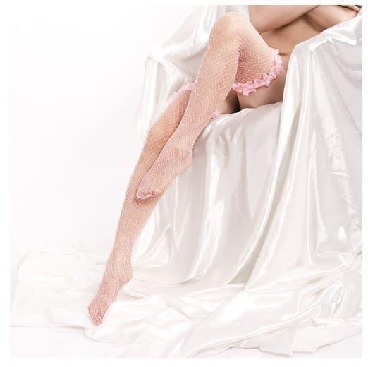 Розовые чулки в сетку с пышной резинкой - фото 7911
