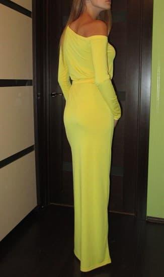 Желтое прямое платье в пол на одно плечо - фото 8021