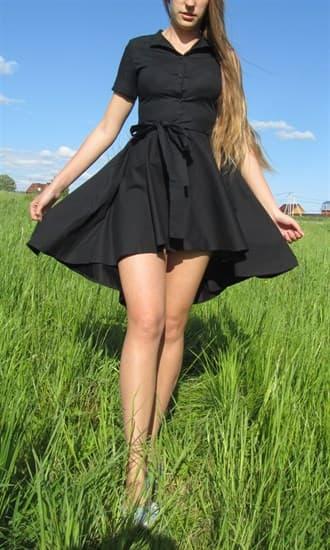 Черное платье-рубашка с юбкой-солнце - фото 8061