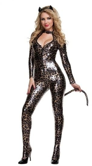 Блестящий леопардовый комбинезон с хвостом - фото 8373