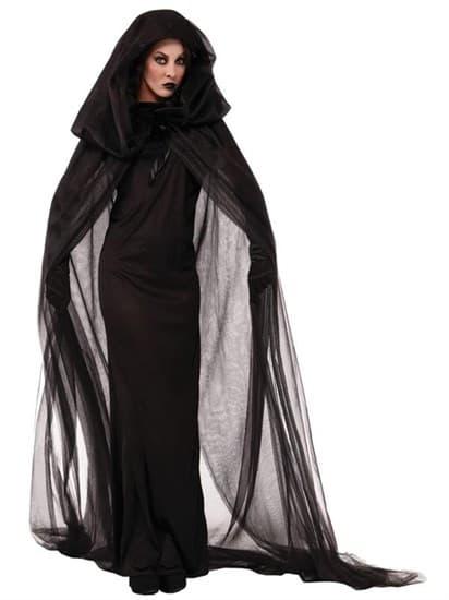 Черная ведьма с прозрачным плащом - фото 8824