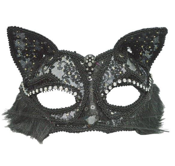Кружевная маска кошечки. Черная - фото 9170