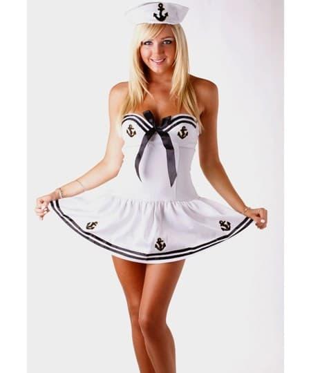 Белый костюм морячки с чашечками - фото 9670