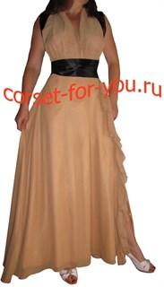 бежевое шифоновое платье