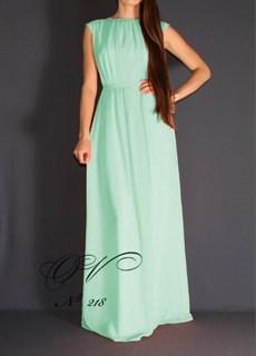 Бирюзовое платье в пол из шифона. 213