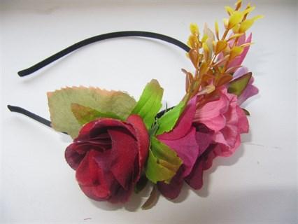 Красные цветы на ободке Handmade 2411