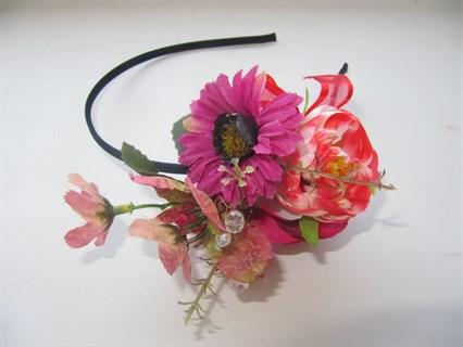 Красные цветы на ободке Handmade 2412