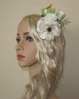Белые цветы для прически. 2455