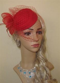 """Шляпка с вуалью """"Жанет"""". Красная"""