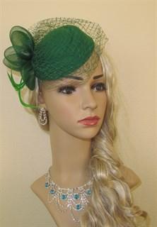 """Шляпка с вуалью """"Жанет"""". Зеленая"""