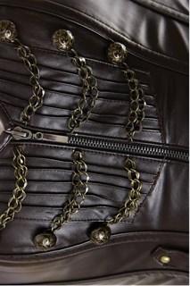 Удлиненный корсет под кожу на молнии с цепочками - фото 11438