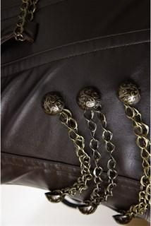 Удлиненный корсет под кожу на молнии с цепочками - фото 11439