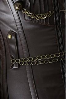 Удлиненный корсет под кожу на молнии с цепочками - фото 11440