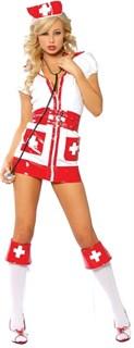 Игровой костюм медсестры, декорирован красными лакированными вставками