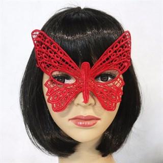 Красная кружевная маска Бабочка