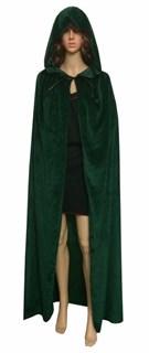 Темно-зеленый широкий плащ с капюшоном - фото 11689