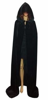 Черный широкий плащ с капюшоном  из велюра - фото 11690