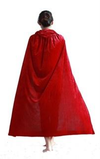 Красный велюровый плащ. 120 см