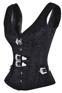 Черный корсет с широкими лямками - фото 11736