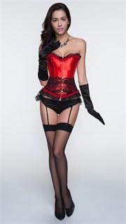Красный мягкий корсет с черным кружевом