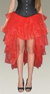 Пышная юбка с хвостом из фатина. Красная