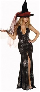 Сексапильная колдунья в черном платье в пол с разрезом - фото 12059