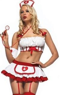 Красно белая медсестра топ и юбка с подвязками