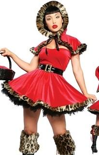 Маскарадный костюм красной шапочки с леопардовым мехом