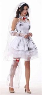"""Карнавальный костюм мертвой невесты. """"Испачканное"""" белое платье с фатой"""
