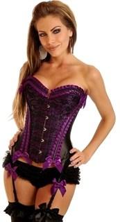 Фиолетовый корсет Burlesque с подвязками для чулок