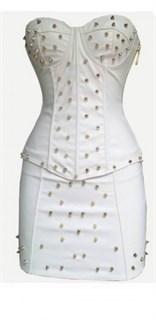 Белый корсет под кожу с шипами в комплекте с юбкой