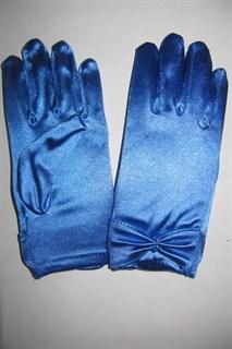 Короткие атласные детские перчатки. 3-7 лет. Голубые